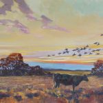 Black Cow and Birds in Winter Light   28x32