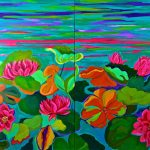 Blooms on water 36x48