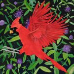 Cardinal with Thistles   22 x 22 Lithograph
