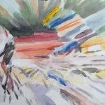 Cycling Blur, Watercolor  7x23